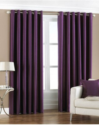 Fabbig Polyester Purple Geometric Eyelet Door Curtain