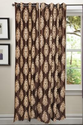 Valtellina Polycotton Brown Abstract Eyelet Door Curtain