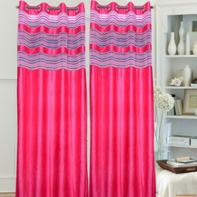 Brabuon Polyester Pink Plain Eyelet Door Curtain