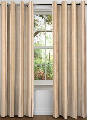 NuHome Decor Polyester Gold Striped Eyelet Door Curtain
