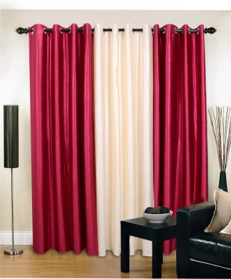 Jds Polyester Cream, Magenta Plain Eyelet Door Curtain