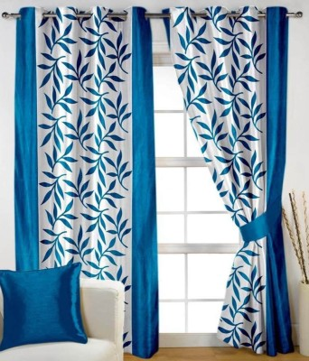 RS Quality Polyester Blue Floral Eyelet Window & Door Curtain