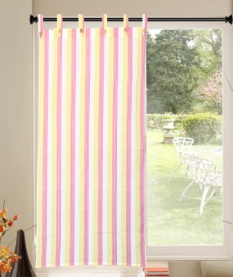 Handloom Factory Cotton Pink, White Striped Tab Top Window Curtain