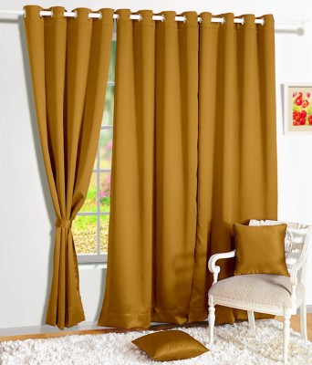 Story @ Home Silk Mustard Solid Tab Top Door Curtain