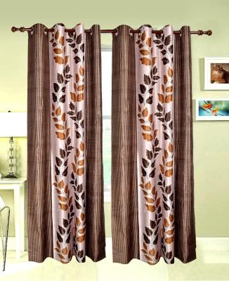 Maple Chenille Multicolor Floral Eyelet Window & Door Curtain
