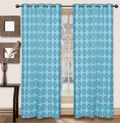 Elan Cotton Blue Printed Eyelet Door Curtain