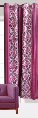 India Furnish Polyester Wine Floral Eyelet Door Curtain