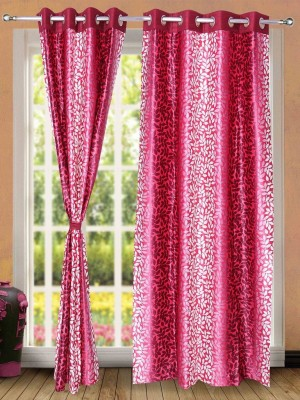 Wind Drape Polyester Pink Floral Ring Rod Door Curtain