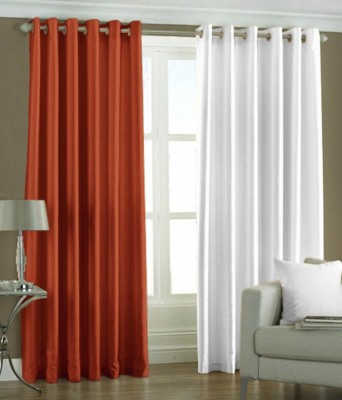 Sls Dreams Polyester Red, White Plain Eyelet Long Door Curtain
