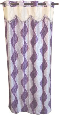 Trendy Home Polyester Purple Geometric Eyelet Window Curtain