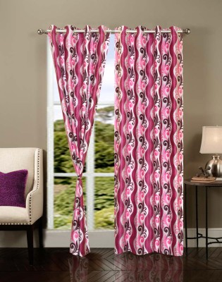IWS Polyester Multicolor Geometric Ring Rod Door Curtain