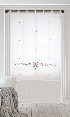 Milano Home Cotton Multicolor Embroidered Tab Top Window Curtain