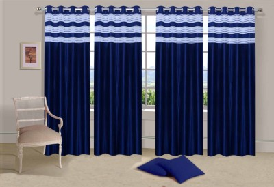 Ville Style Polyester Blue Solid Eyelet Long Door Curtain