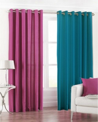 Chaitnya Handloom Polyester Pink, Blue Plain Eyelet Door Curtain