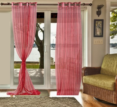 sachidanand solutions Tissue Red Striped Eyelet Long Door Curtain