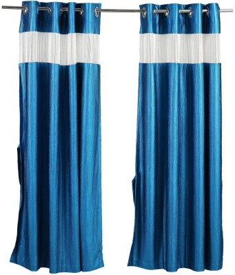 Store17 Polyester Blue Self Design Ring Rod Door Curtain