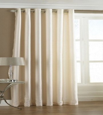 Profabhome Polyester White Solid Eyelet Door Curtain