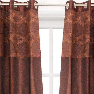 House This Cotton Brown Embroidered Eyelet Window Curtain