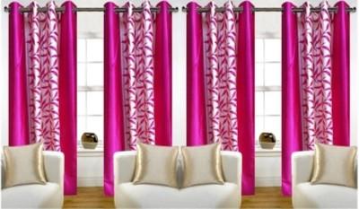 RedHot Polyester Pink Printed Eyelet Long Door Curtain