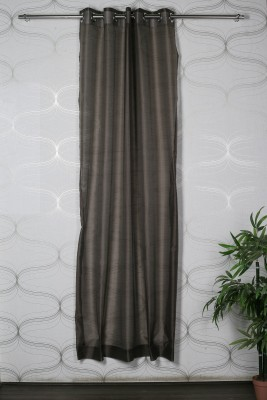 Homelife Polyester Brown Solid Eyelet Window Curtain