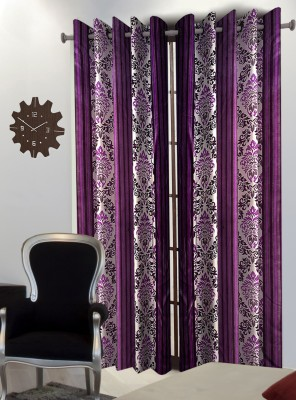Home Blossoms Polyester Purple Floral Eyelet Door Curtain
