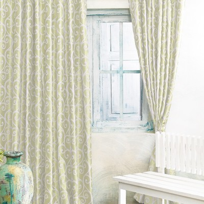 New Fabric Art Jacquard Light Green Printed Eyelet Window Curtain