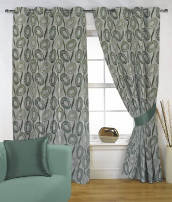 Fabutex Polyester Green Floral Eyelet Door Curtain