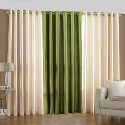 sajaawat Polyester WHITE:GREEN Solid Eyelet Long Door Curtain