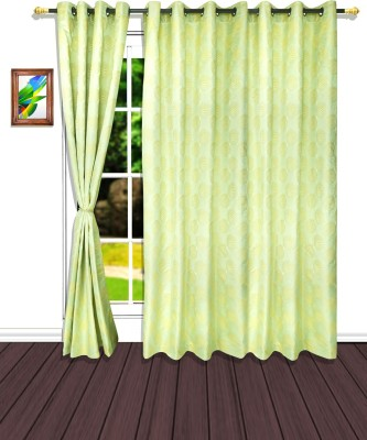 S9home by Seasons Polyester Green Geometric Eyelet Door Curtain
