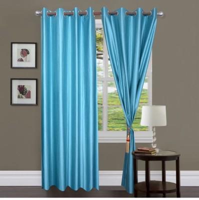 Sai Arpan Polyester Light Blue Solid Eyelet Door Curtain