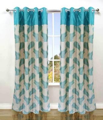 Deco Home Polyester Aqua Printed Eyelet Window Curtain