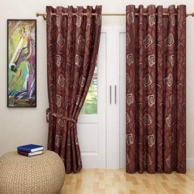 G M HomeFashion Polyester Multicolor Checkered Eyelet Door Curtain