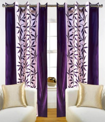 RS Quality Polyester Purple Floral Eyelet Window & Door Curtain