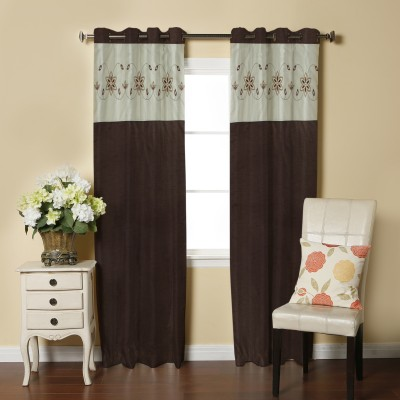 Abhi Decor Polyester Brown Embroidered Curtain Window Curtain