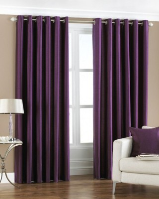 Homefab India Polyester Purple Solid Eyelet Door Curtain