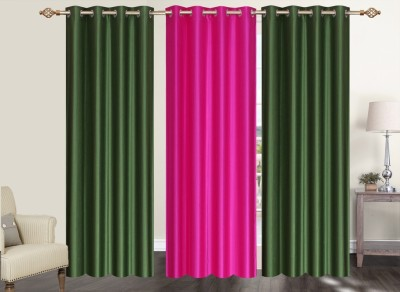 Furnishing Zone Polyester Green, Pink Plain Eyelet Long Door Curtain