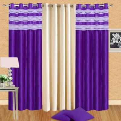 Handloomhub Polyester Multicolor Solid Tab Top Door Curtain