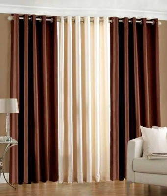 Jh Decore Polyester Brown And Cream Motif Eyelet Window Curtain