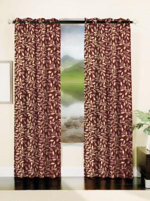 Mahamantra Polyester Maroon Floral Eyelet Window Curtain