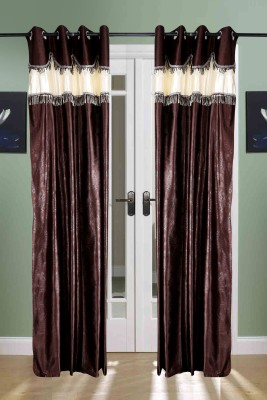 the handloom store Polyester Brown Self Design, Plain Eyelet Door Curtain