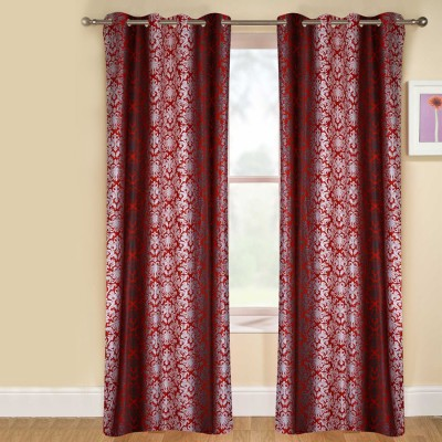 kaka furnishings Polyester Red Printed Eyelet Long Door Curtain