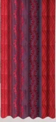 Drapez Polyester Red & Maroon Printed Eyelet Door Curtain