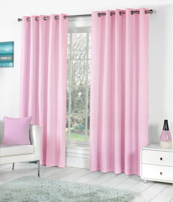 SLV Home Decor Polyester Pink Plain Eyelet Long Door Curtain