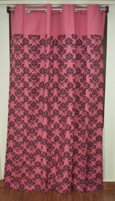 Thuhil Home Linen Cotton Pink Printed Eyelet Door Curtain
