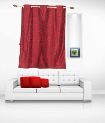 Lukluck Polycotton Red Floral Ring Rod Window Curtain