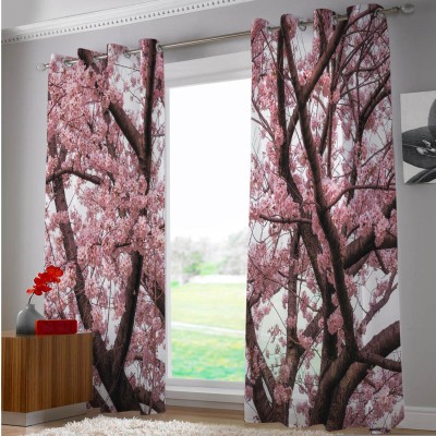 Right Polyester White, Pink Floral Eyelet Door Curtain