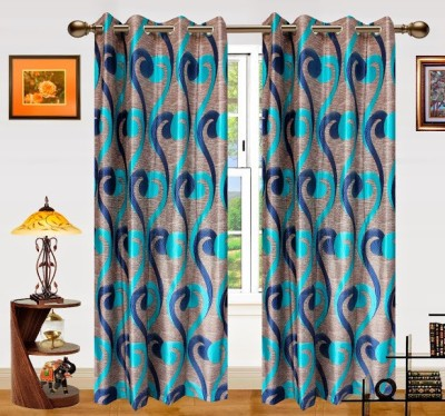 Dekor World Polyester Blue Motif Eyelet Door Curtain