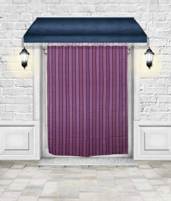 Lukluck Cotton Violet Abstract Ring Rod Door Curtain