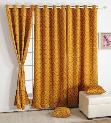 Swayam Silk Orange Solid Ring Rod Window Curtain