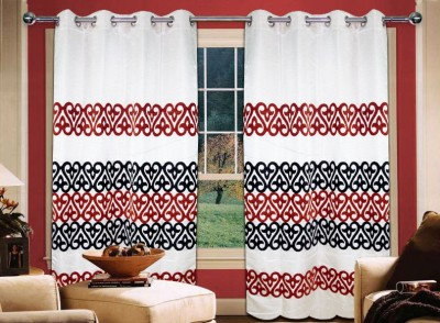 Home Creations Polyester Maroon Floral Eyelet Door Curtain